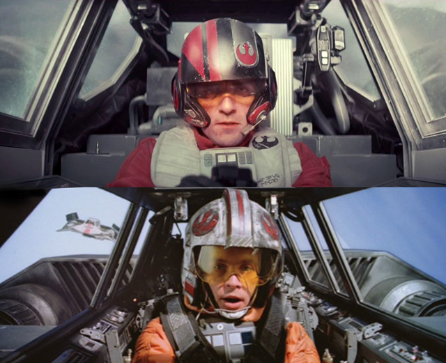 Side by side comparison of cockpits between The Force Awakens and The Empire Strikes Back