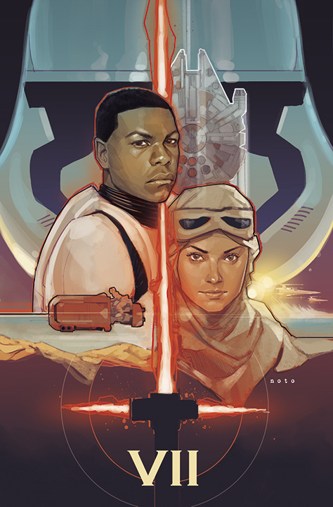 Phil Noto The Force Awakens teaser poster like Drew Struzan